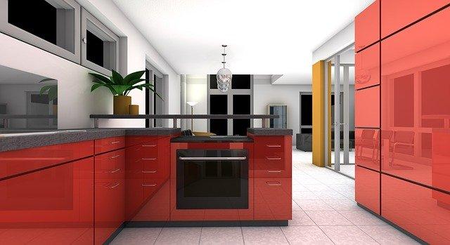 červená linka kuchyně